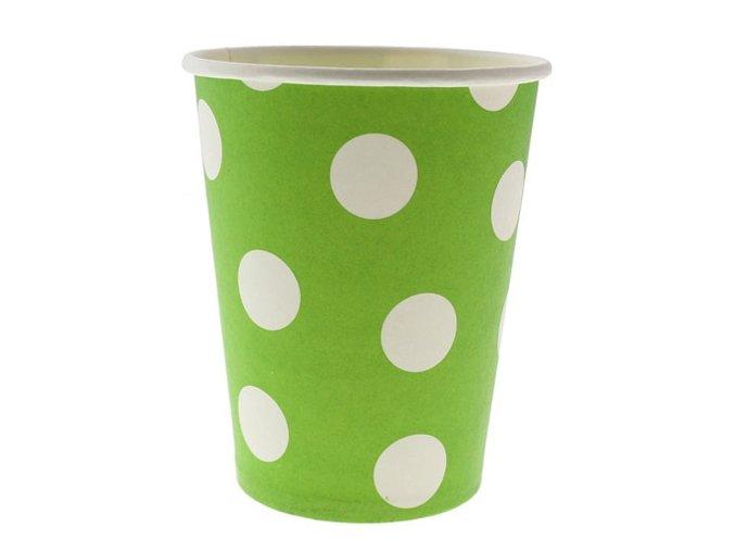 Pohár zeleno pistaciový s bielymi bodkami 270ml 6ks v balení
