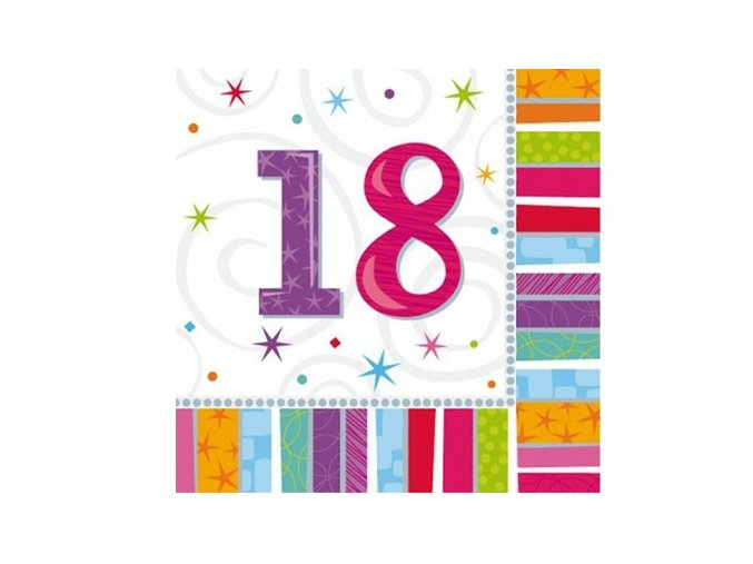 eng pl Radiant Birthday 18th Luncheon Napkins 16 pcs 2958 2
