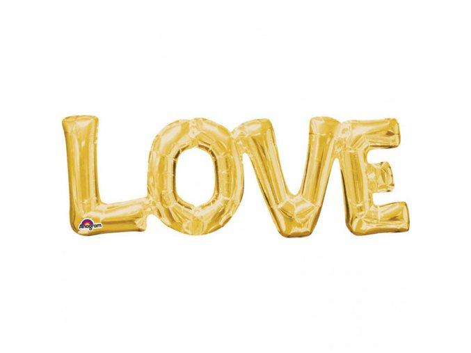eng pl SuperShape Phrase Love Gold Foil Balloon 63 x 22 cm 1 pc 25281 2