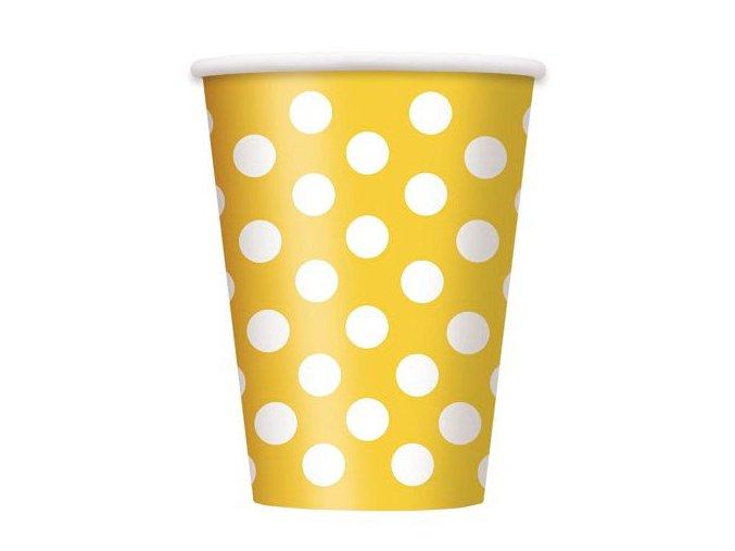Pohár žltý s bielymi bodkami 355ml 6ks v balení