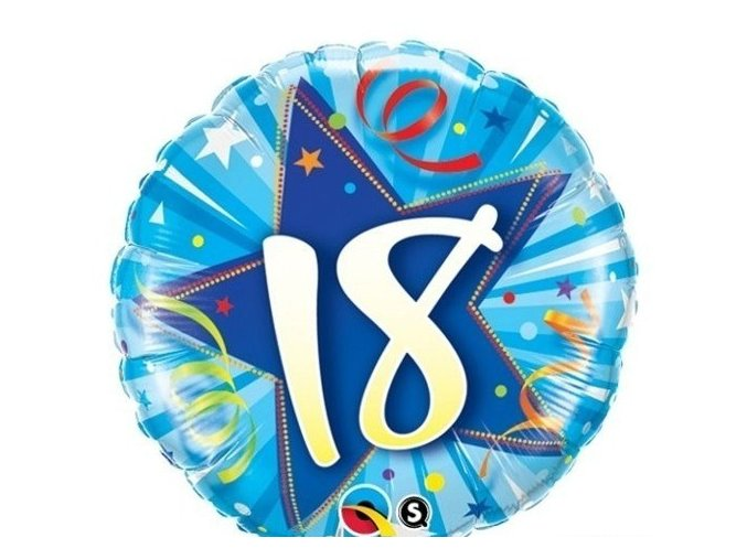 "Fóliový balón ""18"" modrý Happy Birthday 47cm"