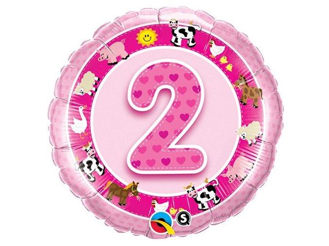 Fóliový balón so zvieratkami ,,2,, Happy Birthday ružový 46cm