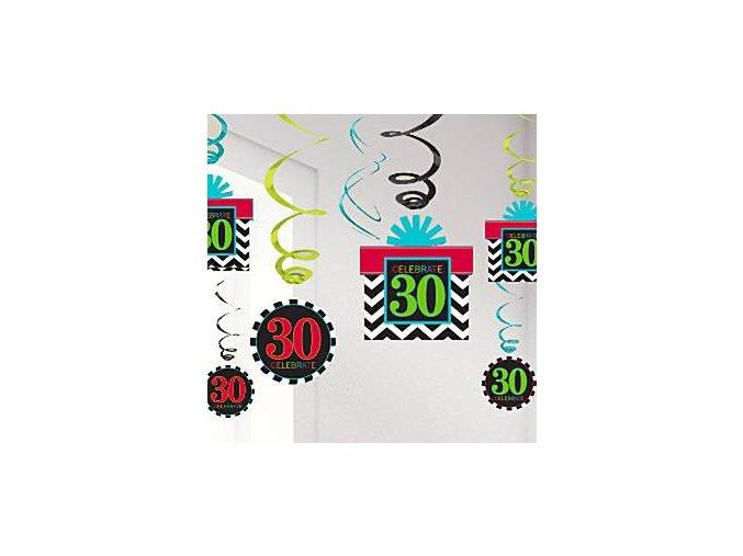 Chevron Stripes 30th hanging swirls 60cm party decorations cstr30hang