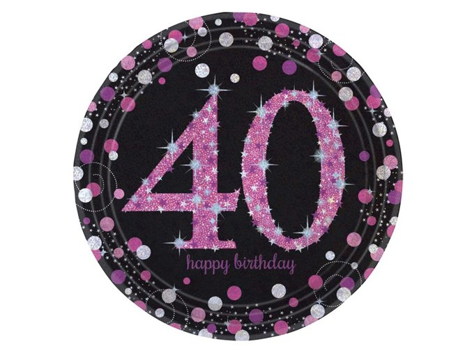 eng pl Pink Celebration 40th Prismatic Paper Plates 23 cm 8 pcs 20132 1