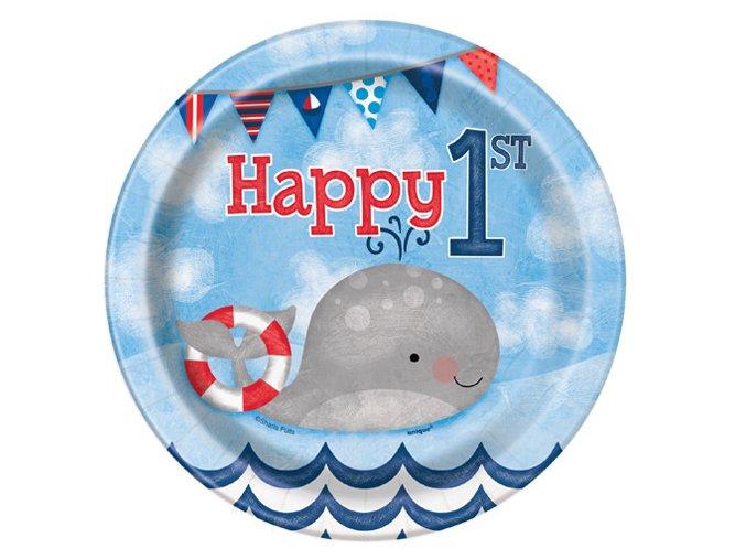 eng pl Nautical 1st Birthday Paper Cups 266 ml 8 pcs 24492 2