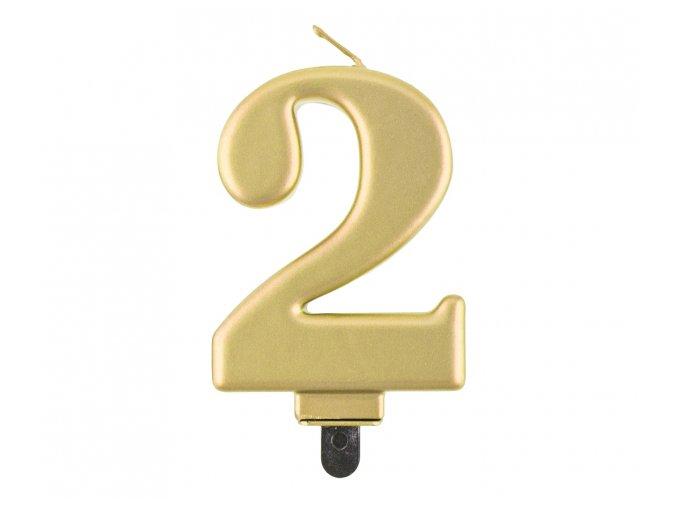 Sviečka číslo,,2,, Gold chrom
