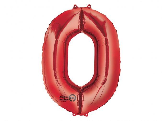 Fóliový balón číslo ,,0,, červený 88cm