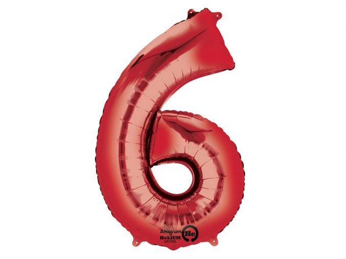 Fóliový balón číslo ,,6,, červený 86cm