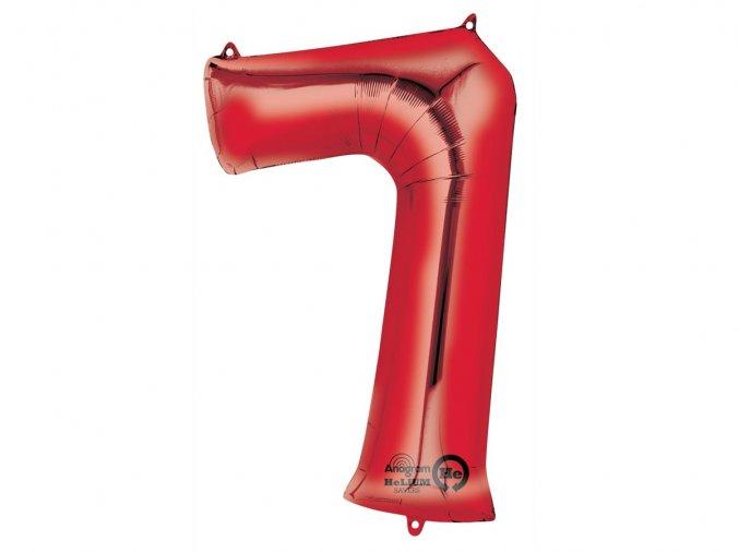Fóliový balón číslo ,,7,, červený 86cm