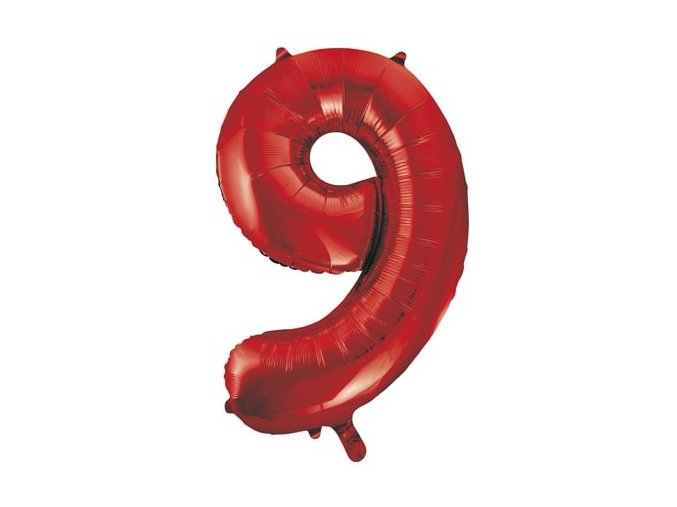 eng pl Number 9 Red Foil Balloon 86cm 1 pc 28725 1