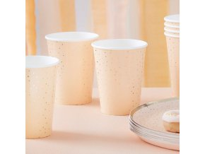 mix 462 gold foiled spotty peach paper cups min