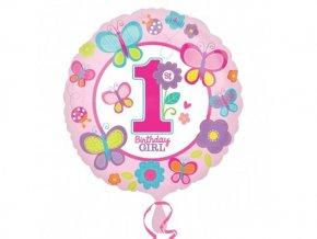 """Fóliový balón """"1"""" Happy Birthday Motýlik"""