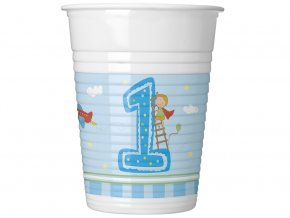 eng pl Boys First Birthday plastic cups 200ml 8 pcs 16211 1