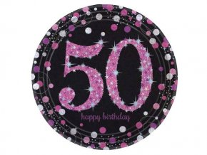 eng pl Pink Celebration 50th Prismatic Paper Plates 23 cm 8 pcs 20133 2 (1)