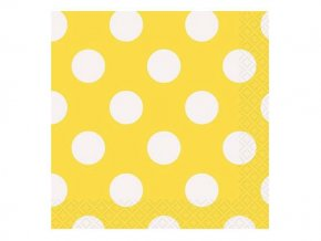 eng pl Yellow Beverage Napkins with Dots 33 cm 16 pcs 25224 2