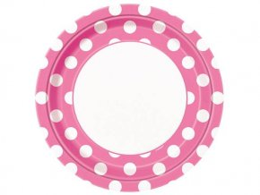 eng pl Hot Pink Paper Plates with Dots 23 cm 8 pcs 25244 1