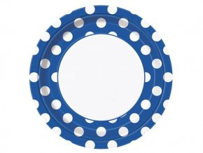eng pl Blue paper plates with dots 23 cm 8 pcs 25258 1