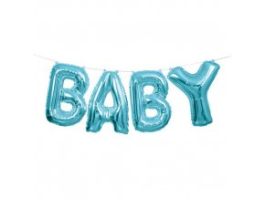 medium plus 96902 LVU 53686 Foil Balloon Blue Foil Letter Banner BABY 14 1Pcs