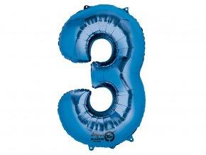 fóliový balón 3 modrý 86cm