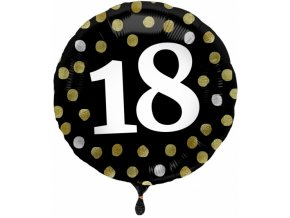 folat folieballon 18 jaar glossy 45 cm zwart wit 457235 1599225480