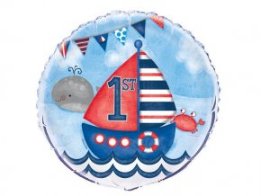 eng pl Nautical First Birthday Foil Balloon 46 cm 1 pc 25825 1