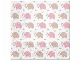 Servítky Sloník biele  hello baby pink 16ks v balení