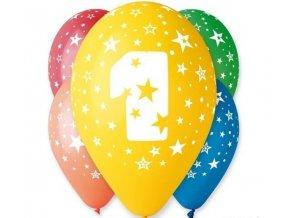 "Pastelové balóny ""1"" Happy Birthday 5ks v balení"