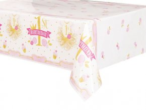eng pl Pink Gold 1st Birthday Tablecover 213x137 cm 1 pc 24486 2