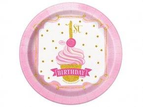eng pl Pink Gold 1st Birthday Plates 18 cm 8 pcs 24485 1 (1)