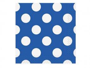 Servítky Royal modré s bielymi bodkami 25,4cm 16ks v balení
