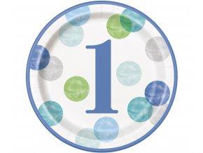 talerzyki papierowe first birthday niebieskie groc