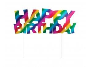 dekoracja tortowa teczowa happy birthday 14 x 1