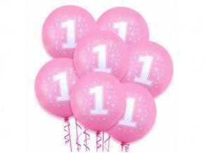 eng pl Pink pastel balloons 1st birthday 5 pcs 22335 3