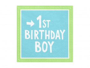 eng pl 1st birthday boy 3 layers blue napkins 33 cm 20 pcs 31374 1