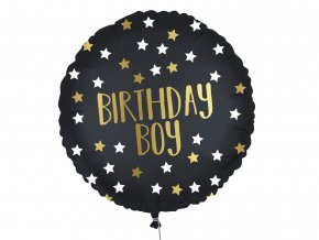 eng pl Black Gold Birthday Boy Foil Balloon 46 cm 1 pc 53008 1