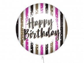 eng pl Happy Birthday Pink Gold Stripes Foil Balloon 46 cm 1 pc 52996 1