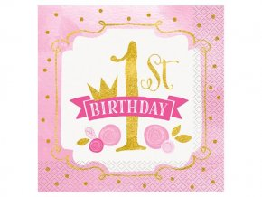 eng pl Pink Gold 1st Birthday lunch napkins 33 cm 16 pcs 24482 1