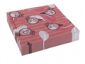 Servitky Angry Birds ružové 33x33cm, 20ks v balení
