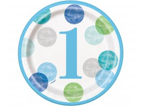 talerzyki papierowe first birthday niebieskie gro