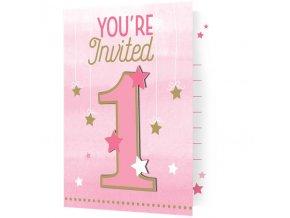 Pozvánky 1 star pink 8ks v balení