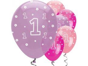 Latexové balóny ,,1,, mix farieb 6ks