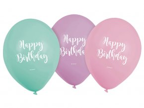 eng pl Latex Balloons Happy Birthday 23 cm 6 pcs 34741 3