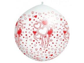 Jumbo balón latexový  White in hearts 1m