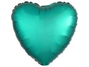 Balón satén zelené srdce 43cm