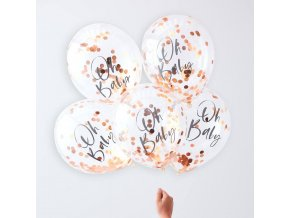 tw 803 oh baby rose gold confetti balloons
