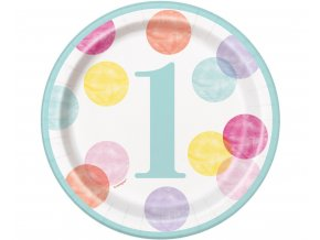 talerzyki papierowe first birthday rozowe grochy (1)