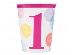 kubeczki papierowe first birthday rozowe grochy
