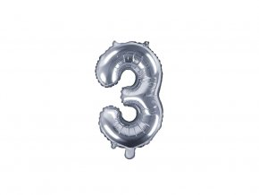 eng pl Mini Shape Number 3 Silver Foil Balloon 35 cm 1 pc 34281 2