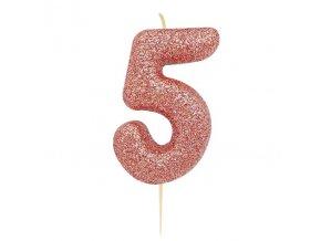Sviečka číslo päť ,,5,, rose gold