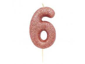 Sviečka číslo ,,6,, Rose Gold glitter
